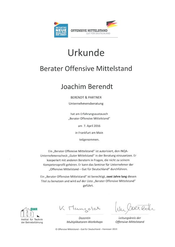 Urkunde – Berater Offensive Mittelstand